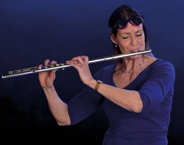 Di Clarke plays flute for Musical Journeys SEND videos